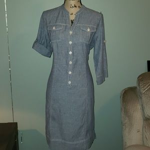 Jones New York Sport Chambray Shirt Midi Dress